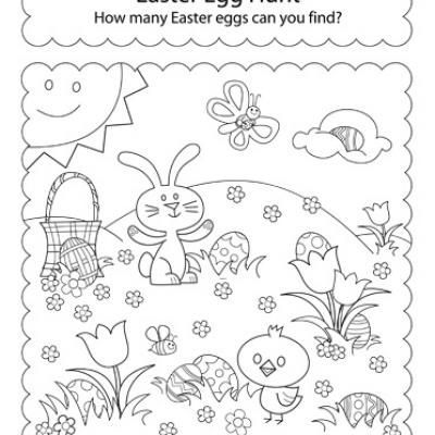 Activity Sheet Hunt For Easter Eggs Coloring Pages