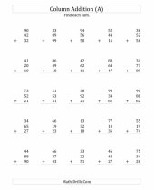 adding three two digit numbers addition of worksheets column 9
