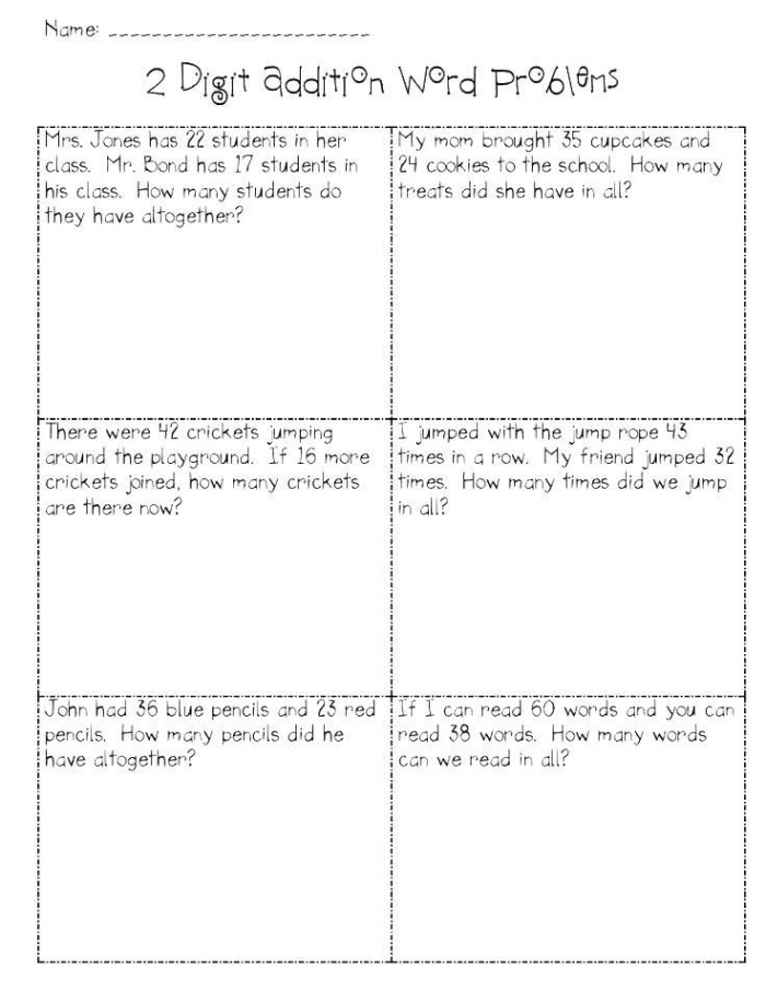 Addition And Subtraction Word Problems Worksheets For Grade  Or