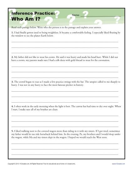 Am Inference Worksheet For Th And Th Grade Practice Making