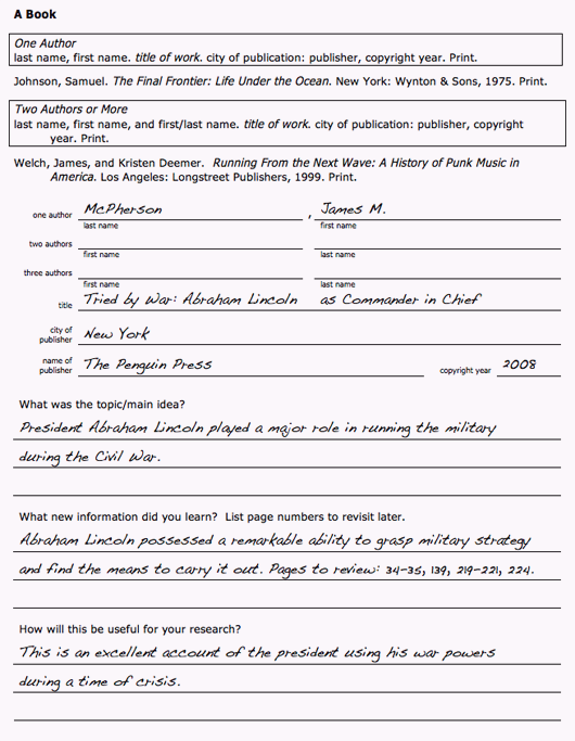 Annotated Bibliography Worksheet