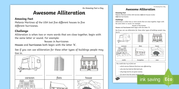 Awesome Alliteration Worksheets For Kids