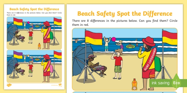Beach Safety Spot The Difference Worksheet Teacher Made