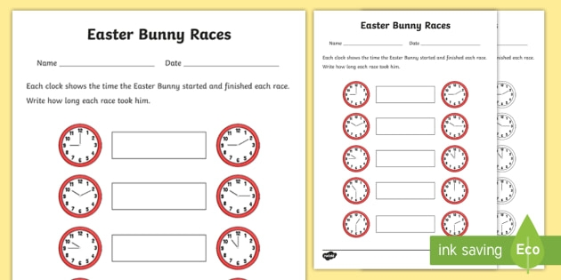 Black And White Easter Themed Time Worksheet Teacher Made