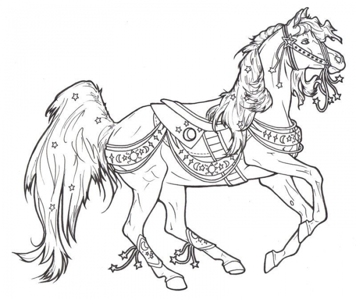 Carousel Horses Coloring Home Horse To Print Crnxetk Math Fact