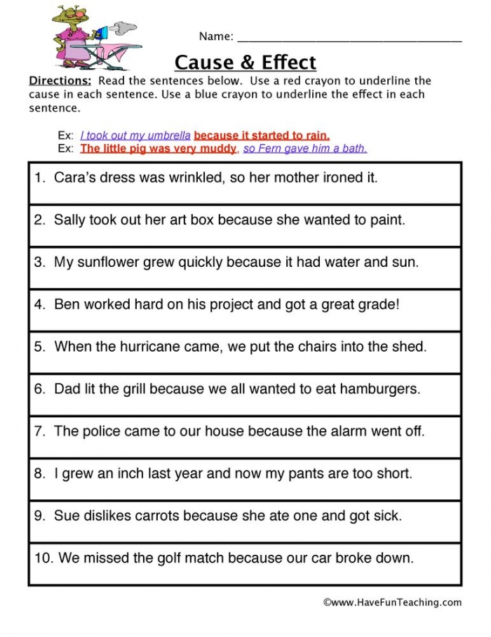 Cause And Effect Worksheet With Images
