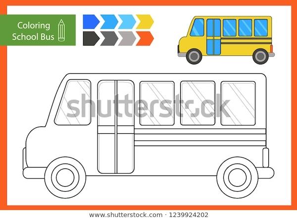 Coloring Drawn School Bus Drawing Worksheets Stock Vector Royalty