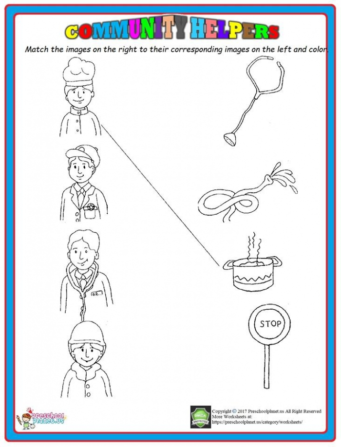 Community Helpers Matching Worksheet  Preschoolplanet