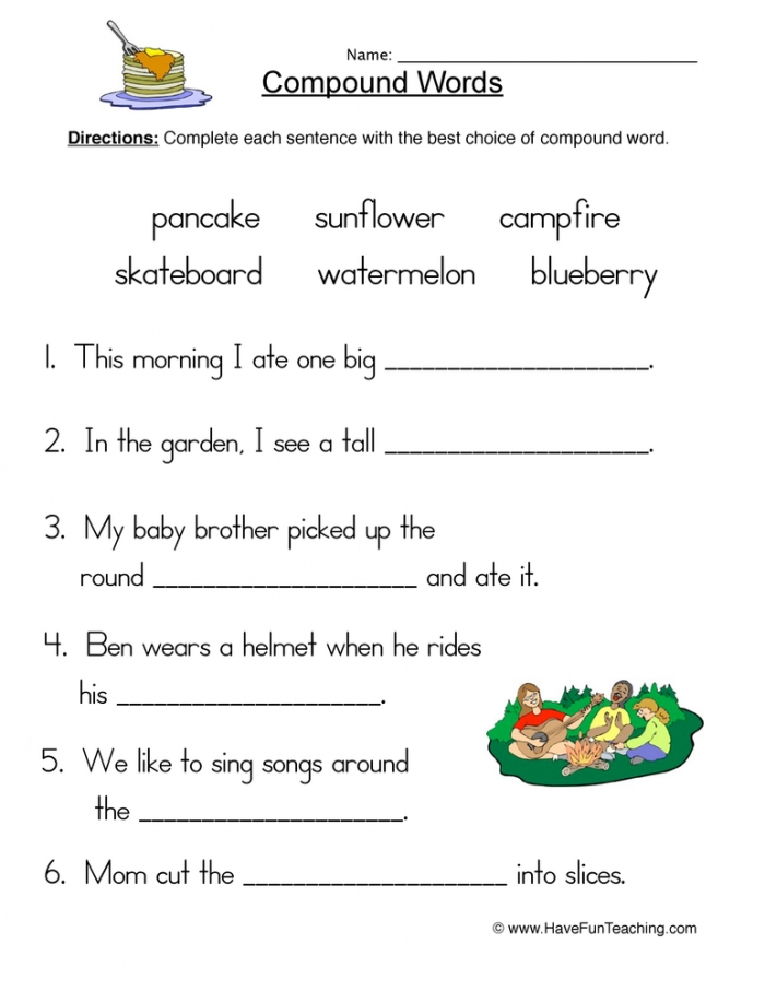 Compound Words Fill In Blank Worksheet  Have Fun Teaching