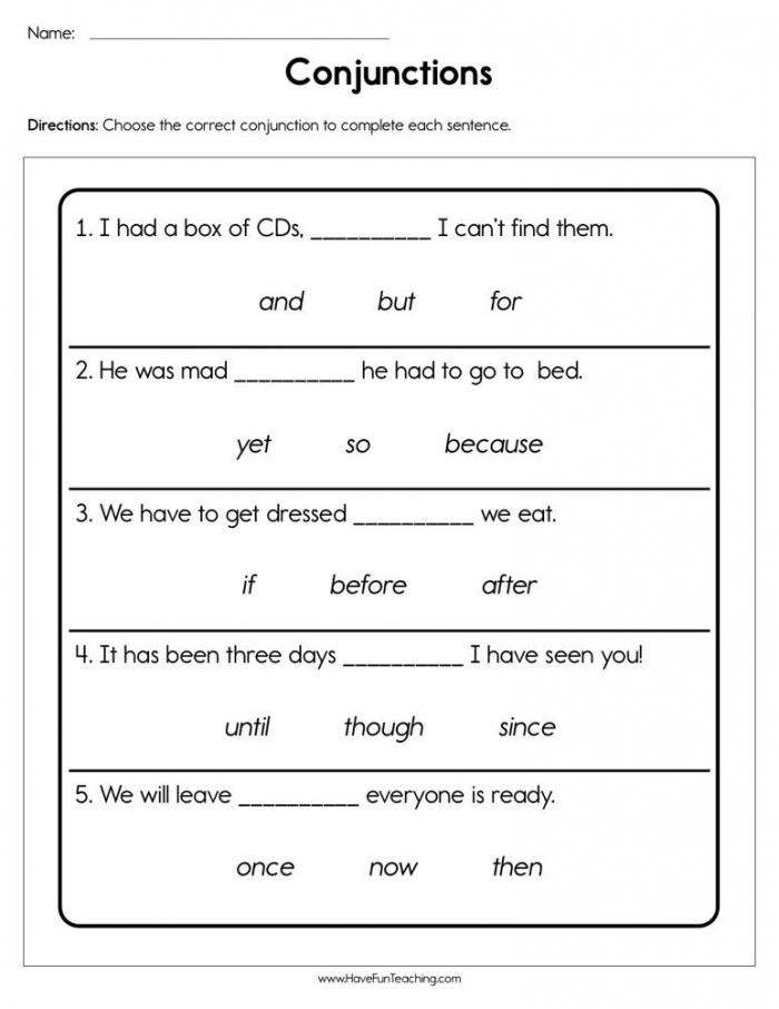 Conjunctions Worksheet  Have Fun Teaching