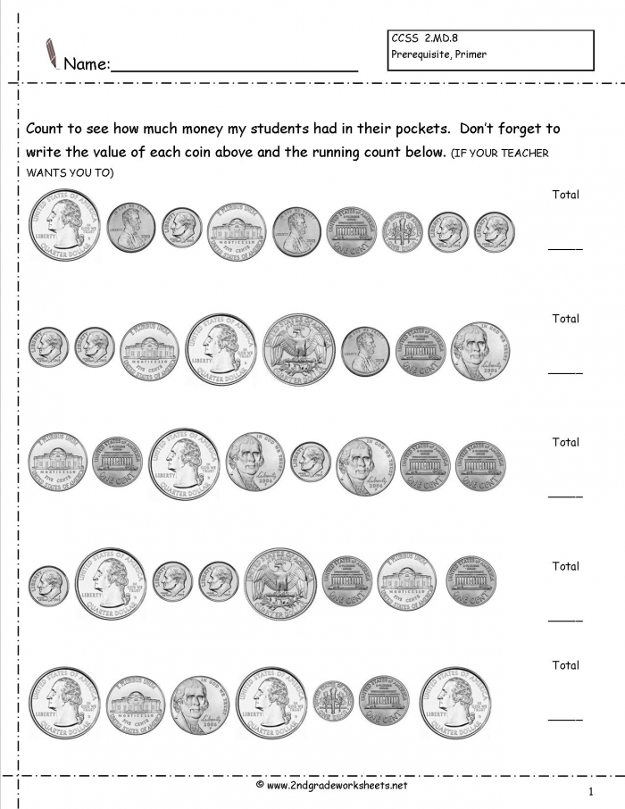 Counting Coins And Money Worksheets Printouts