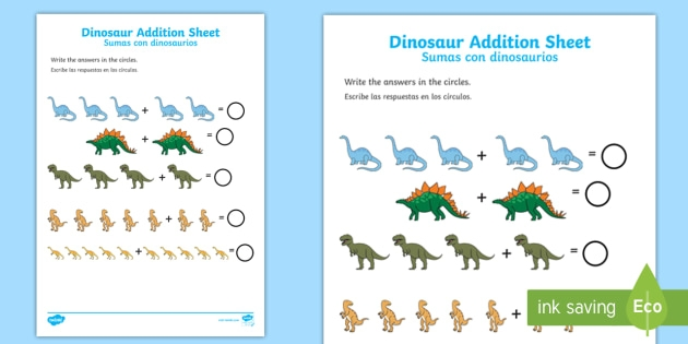 Dinosaur Addition Worksheet  Worksheet