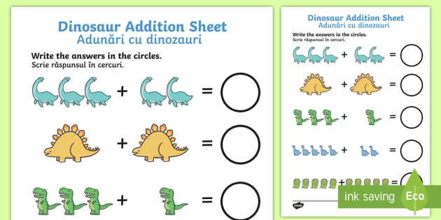 Dinosaur Addition Worksheet  Worksheet Englishromanian