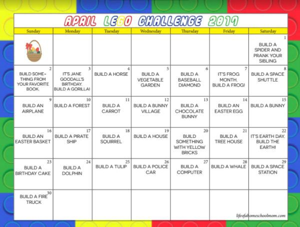 Download A Free Printable Lego Challenge April Calendar To