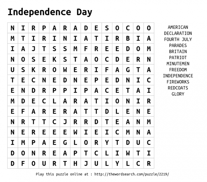 Download Word Search On Independence Day