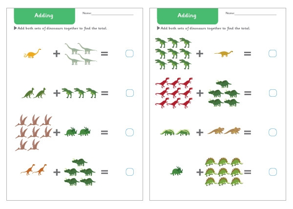 Early Learning Resources Dinosaur Addition Worksheets