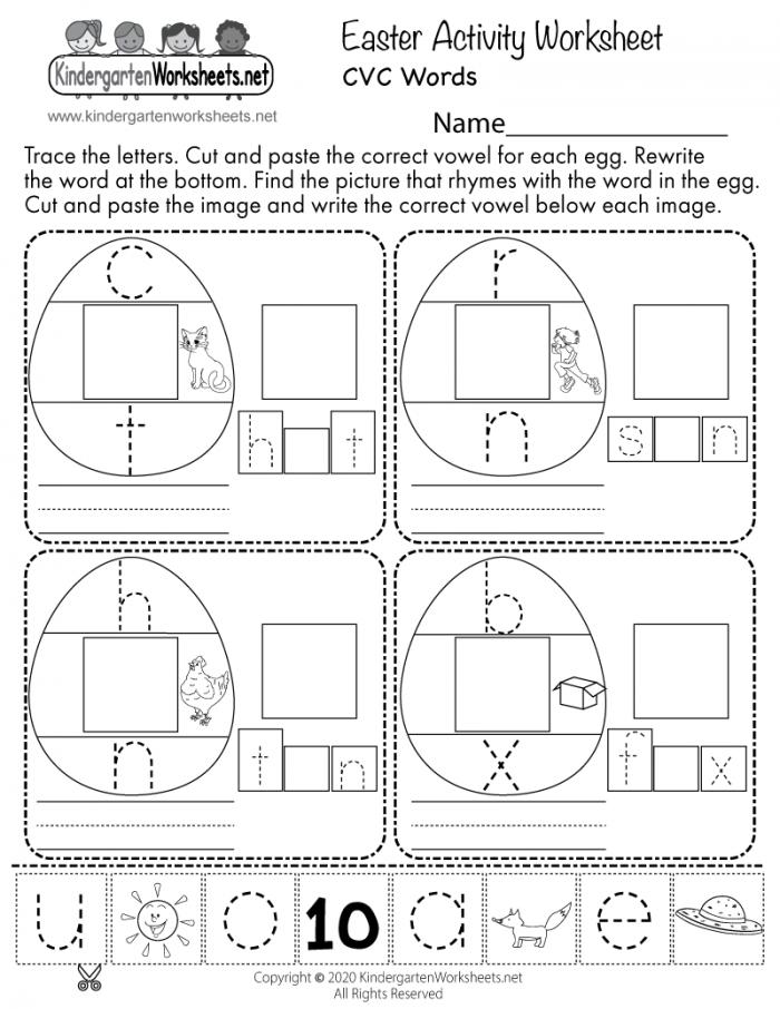 Easter Cvc Words Activity Worksheet For Kindergarten