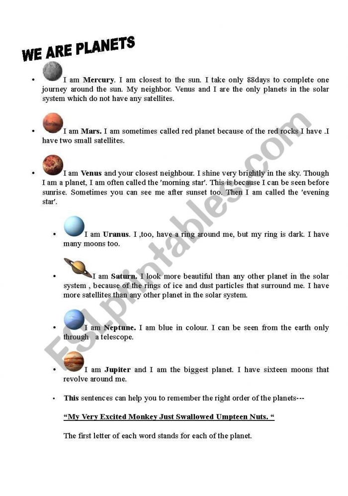 English Worksheets Know Your Planets