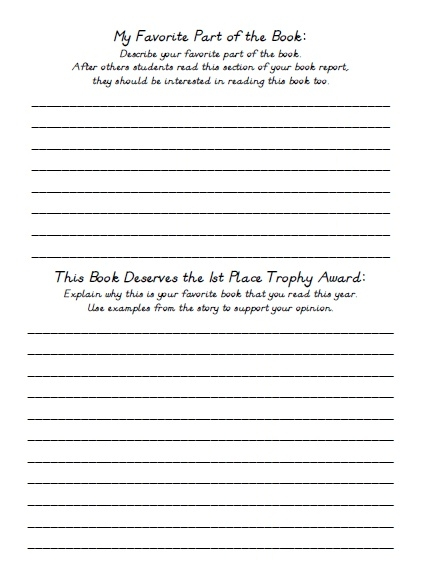 Favorite Book Report Trophy Project Templates  Worksheets  Rubric