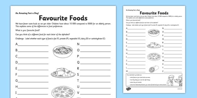 Favorite Foods Worksheet  Worksheet Teacher Made