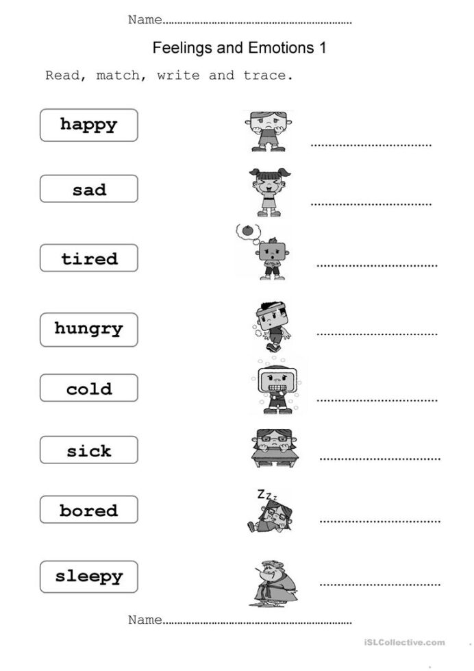 Feelings And Emotions English Esl Worksheets For Distance Nursery