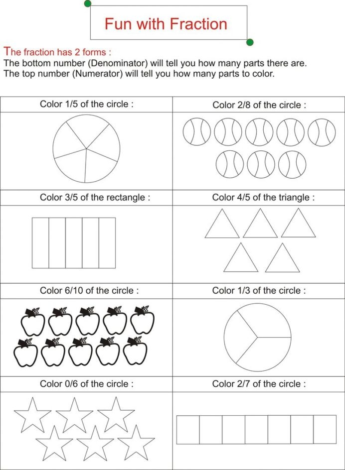 Fraction Is Fun Worksheets Free Ks Math Addition Sheets For Grade
