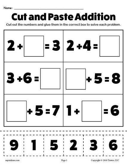 Free Printable Cut And Paste Math Worksheets For Kindergarten Glue