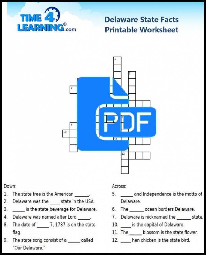 Free Printable Delaware State Facts Crossword