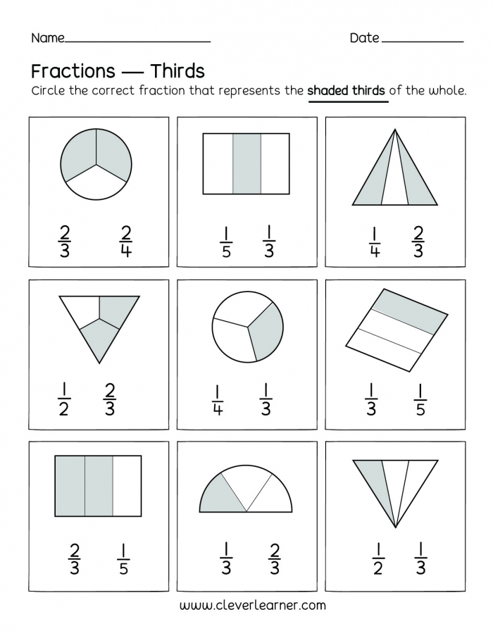 Fun Activity On Fractions Thirds Worksheets For Children Fraction
