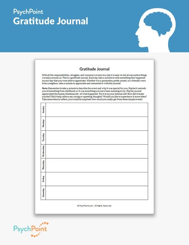 Gratitude Journal Worksheet