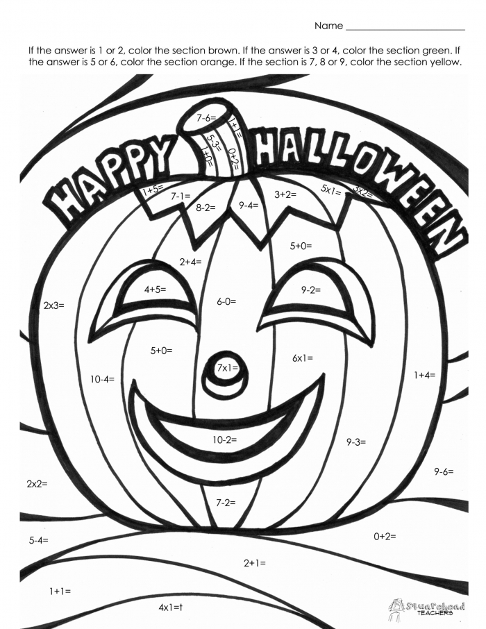 Halloween Math Fact Coloring Squarehead Teachers Free Printable