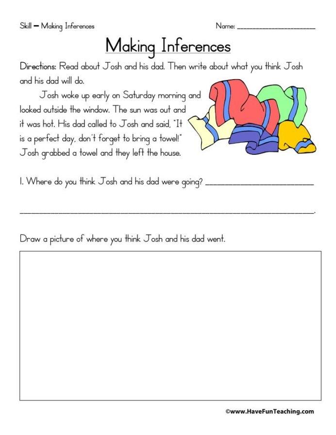Inference Worksheets Worksheet Free Making Inferences Th Grade