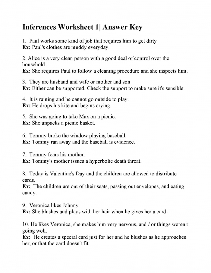 Inferences Worksheet Answers Practice Making Worksheets My Math
