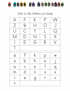 Identifying Letters Assessment