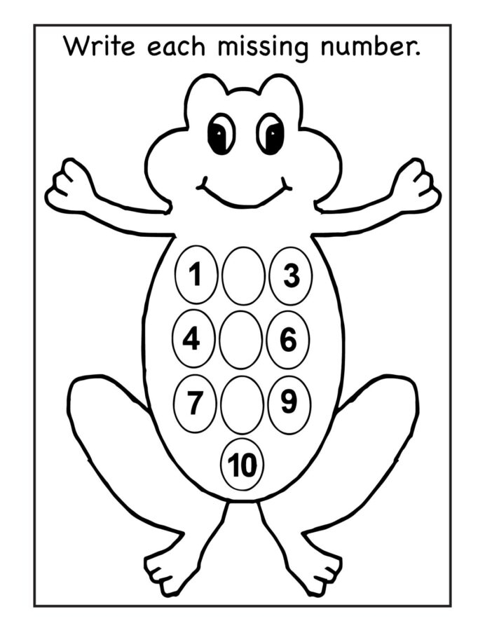 Kindergarten Math Worksheets Missing Numbers Number Writing Page
