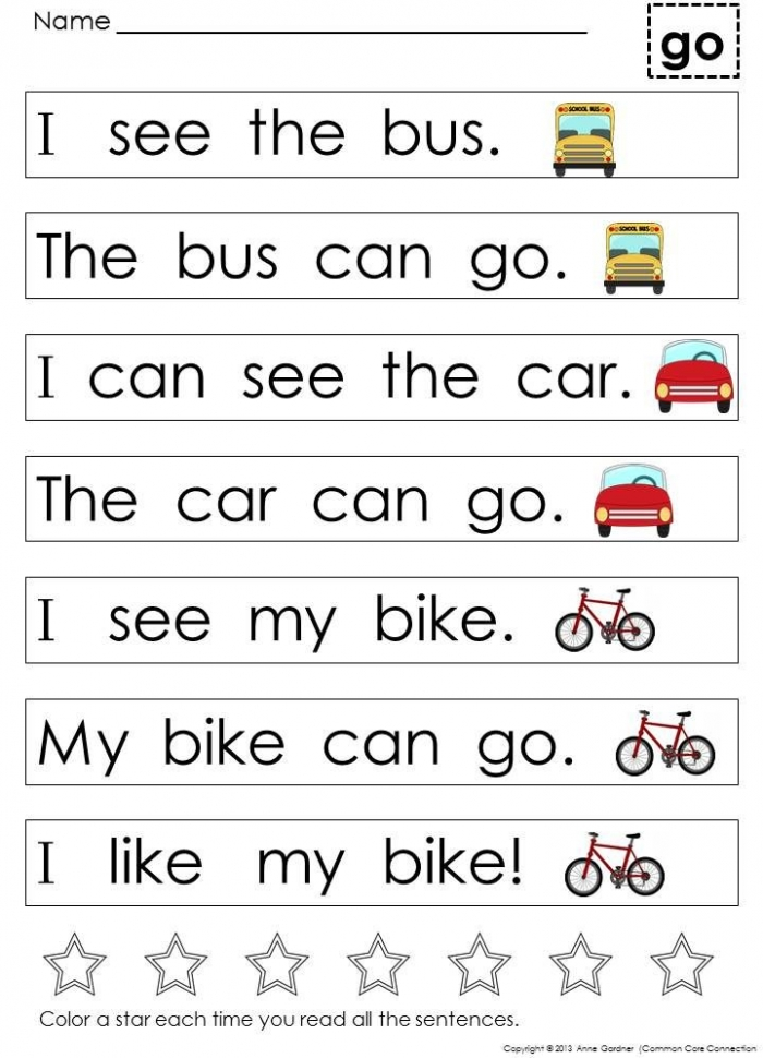 Kindergarten Sight Word Sentences   Games Guided Reading Levels A