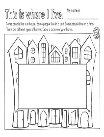 Kindergarten Where I Live Worksheets