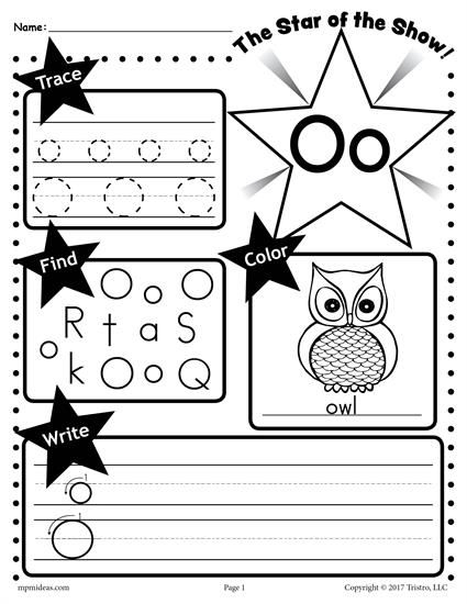 Letter O Worksheet Tracing  Coloring  Writing   More