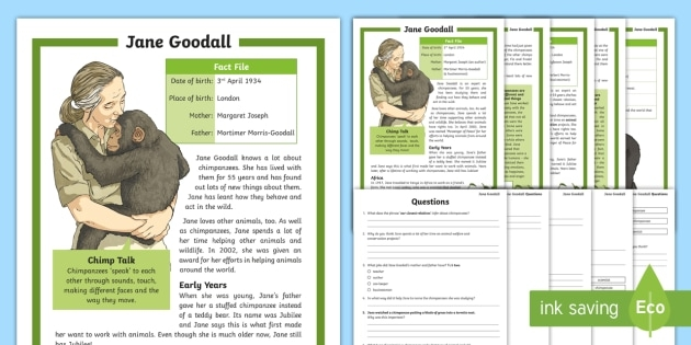 Lks Jane Goodall Differentiated Reading Comprehension Activity