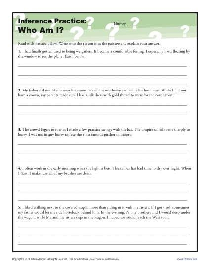 Make Your Own Inferences Worksheets