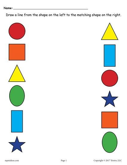 Matching Shapes Worksheets Includes  Free Printable Shape