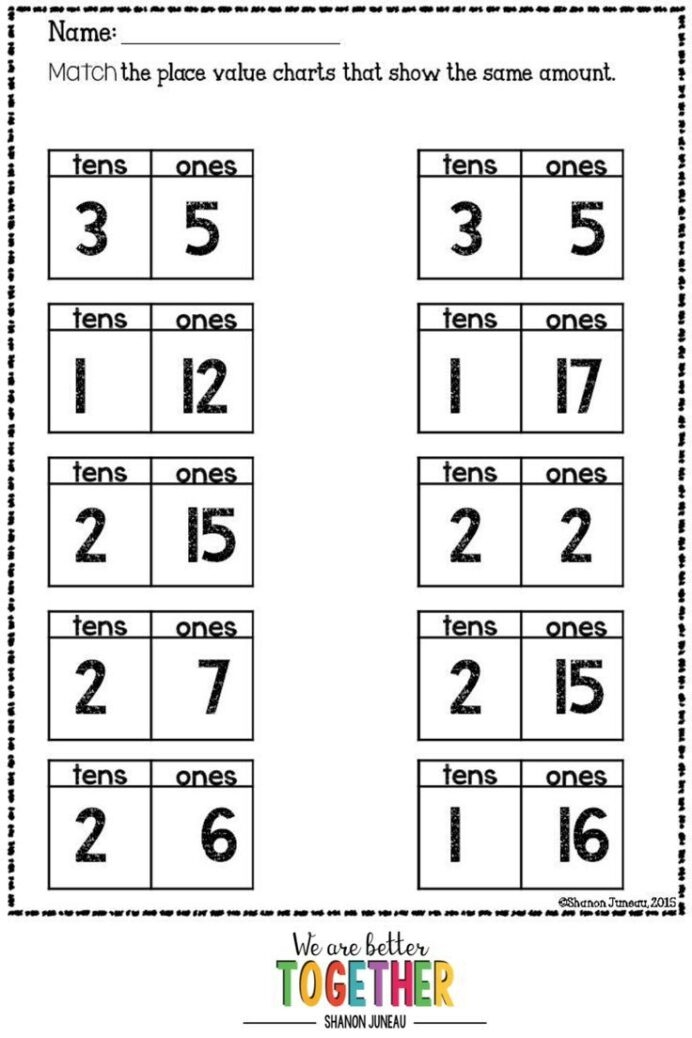 Math Worksheets St Grade Ten More Less In Second Word Games Th