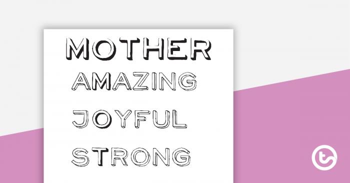 Mothers Day Acrostic Poem Worksheets