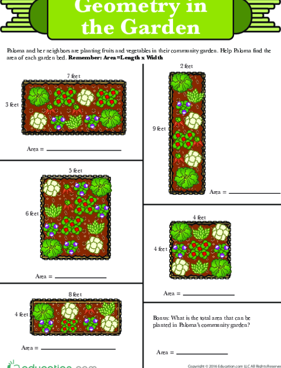 Multiplication And Area In The Community Garden
