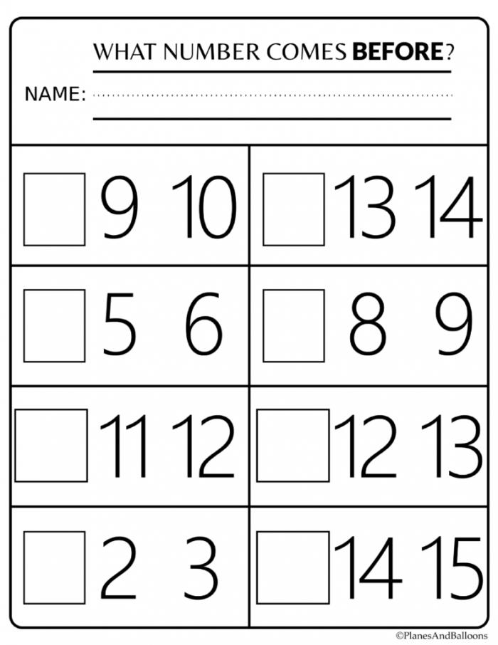 Number Order Kindergarten Free Printable Worksheets Numbers