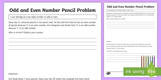 Odd And Even Number Pencil Problem Worksheet  Worksheet
