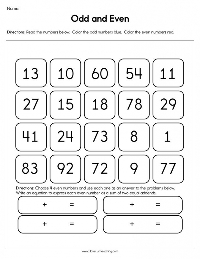 Odd And Even Worksheet  Have Fun Teaching