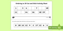 Trace, Cut And Arrange Numbers 1