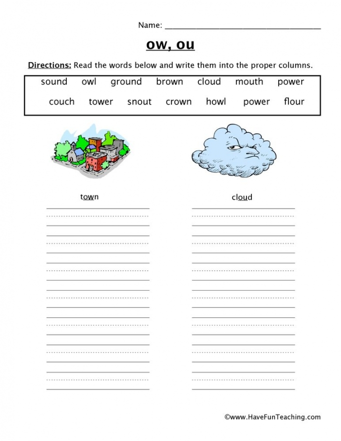 Ow Ou Sorting Worksheet  Have Fun Teaching