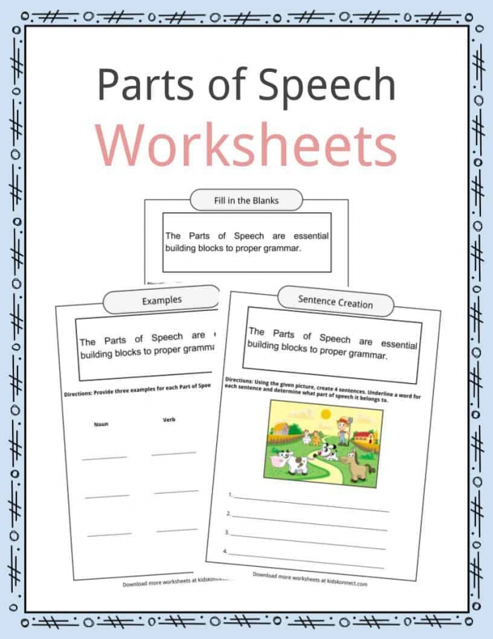 Parts Of Speech Worksheets  Examples   Definition For Kids